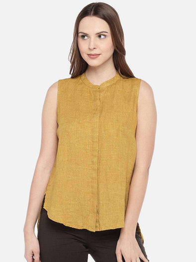 Women's Linen Mustard Regular Fit Blouse Cottonworld Women's Tops