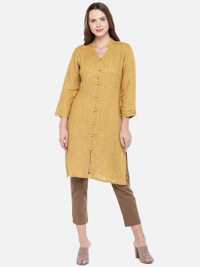 Cottonworld Women's Tops XSMALL / MUSTARD Women's 100% Linen Woven Mustard Regular Fit Blouse