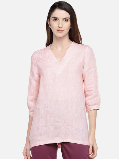 Cottonworld Women's Tops XSMALL / PINK Women's Linen Woven Blush Regular Fit Blouse