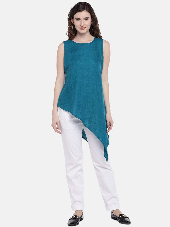 Women's Linen Woven Teal Regular Fit Blouse Cottonworld Women's Tops