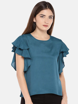 Women's Viscose Woven Teal Regular Fit Blouse Cottonworld Women's Tops