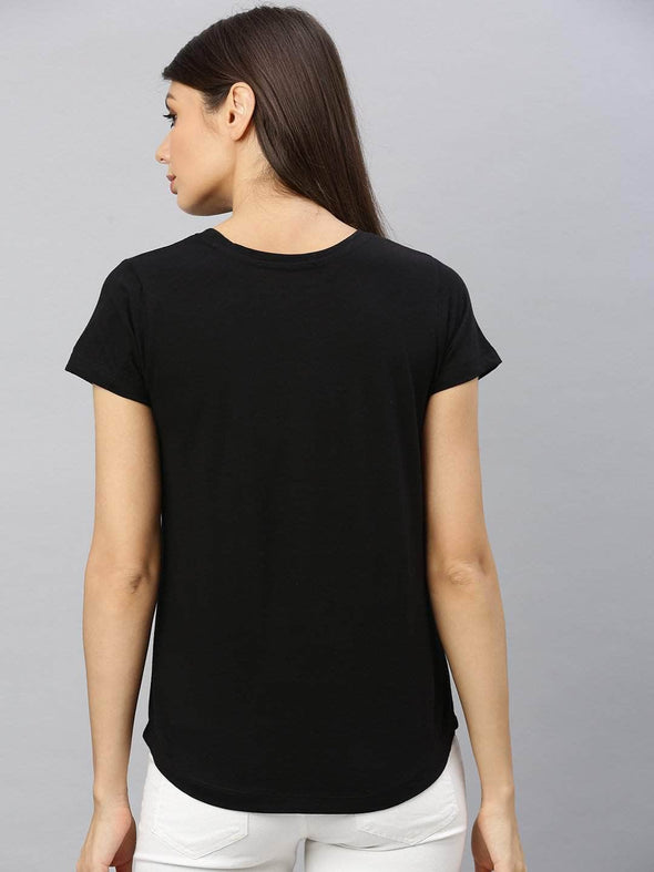 Cottonworld Women's Tshirt Women's  Cotton Black Regular Fit Tshirt