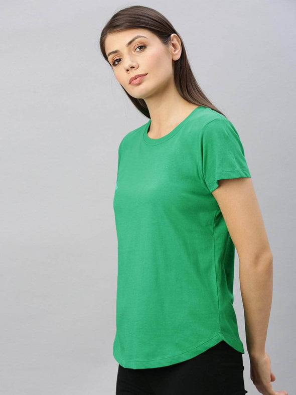 Cottonworld Women's Tshirt Women's  Cotton Emerald Regular Fit Tshirt