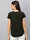 Women's  Cotton Olive Regular Fit Tshirt