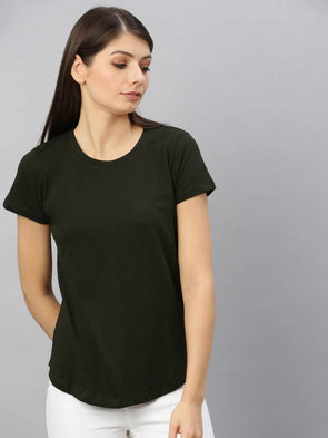 Cottonworld Women's Tshirt Women's  Cotton Olive Regular Fit Tshirt