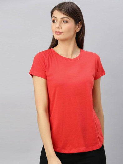 Cottonworld Women's Tshirt Women's  Cotton Red Regular Fit Tshirt
