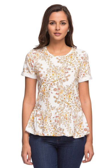 Cottonworld Women's Tshirts LADIES 100% COTTON NATURAL PRINT TSHIRT