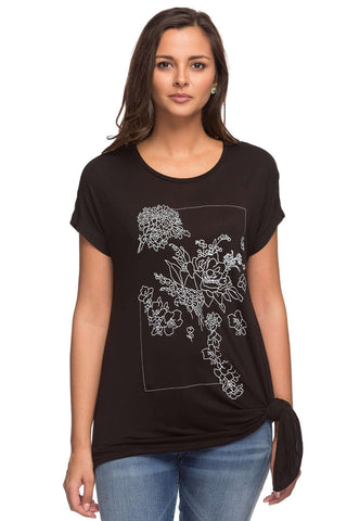 Cottonworld Women's Tshirts LADIES 100% VISCOSE BLACK PRINT TSHIRT