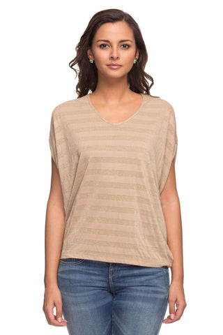 Cottonworld Women's Tshirts LADIES 95% VISCOSE 5% LUREX STRIP BEIGE TSHIRT