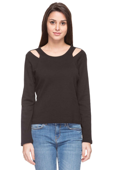 Cottonworld Women's Tshirts WOMEN  100% COTTON BLACK REGULAR FIT TSHIRT - 14827-17644-BLACK