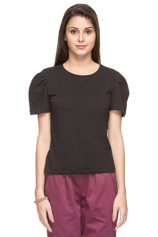 Cottonworld Women's Tshirts WOMEN  100% COTTON BLACK REGULAR FIT TSHIRT - 14907-17595-BLACK