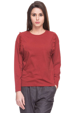 Cottonworld Women's Tshirts WOMEN  100% COTTON CINNAMON REGULAR FIT TSHIRT - 14916-17595-CINNAMON