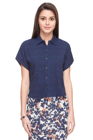Cottonworld Women's Tshirts WOMEN  100% COTTON INDIGO REGULAR FIT TSHIRT - 14883-17615-INDIGO
