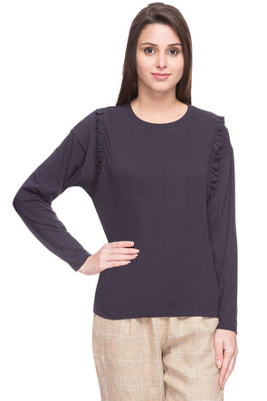Cottonworld Women's Tshirts WOMEN  100% COTTON NAVY REGULAR FIT TSHIRT - 14916-17595-NAVY