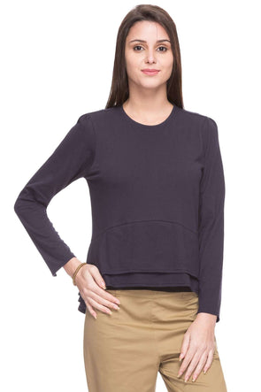 Cottonworld Women's Tshirts WOMEN  100% COTTON NAVY REGULAR FIT TSHIRT - 14926-17595-NAVY