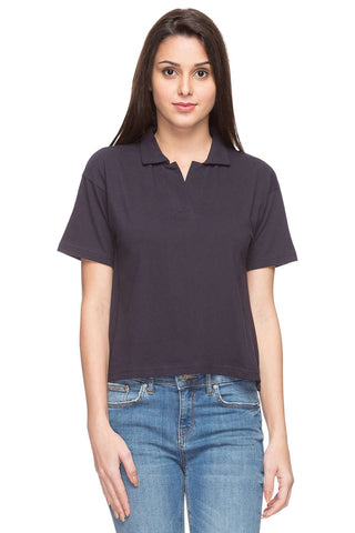 Cottonworld Women's Tshirts WOMEN  100% COTTON NAVY REGULAR FIT TSHIRT - 15049-17595-NAVY