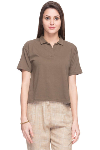 Cottonworld Women's Tshirts WOMEN  100% COTTON OLIVE REGULAR FIT TSHIRT - 15049-17595-OLIVE