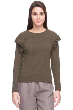 Cottonworld Women's Tshirts WOMEN  100% COTTON OLIVE SLIM FIT TSHIRT - 14914-17620-OLIVE