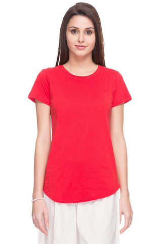 Cottonworld Women's Tshirts WOMEN  100% COTTON RED REGULAR FIT TSHIRT - 11670-17595-RED
