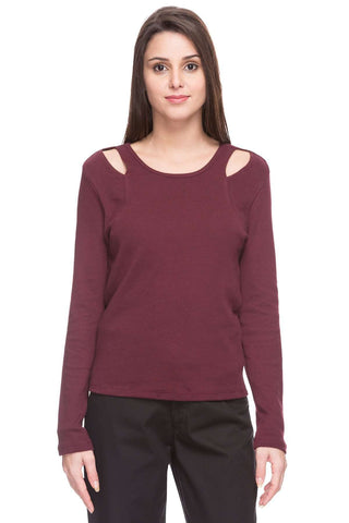 Cottonworld Women's Tshirts WOMEN  100% COTTON WINE REGULAR FIT TSHIRT - 14827-17644-WINE