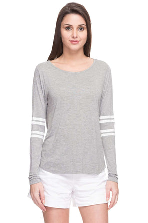 Cottonworld Women's Tshirts WOMEN  100% VISCOSE GREY MELAN REGULAR FIT TSHIRT - 14271-17560-GREY MELAN