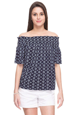 Cottonworld Women's Tshirts WOMEN  100% VISCOSE NAVY REGULAR FIT TSHIRT - 14762-17444-NAVY