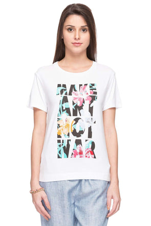 Cottonworld Women's Tshirts WOMEN  95% VISCOSE 5% ELASTANE OFFWHITE REGULAR FIT TSHIRT - 14051-17551-OFFWHITE