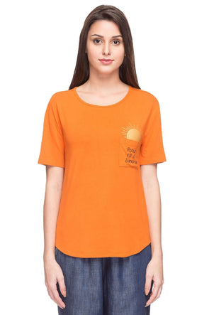 Cottonworld Women's Tshirts WOMEN  95% VISCOSE 5% ELASTANE RUST REGULAR FIT TSHIRT - 14904-17542-RUST