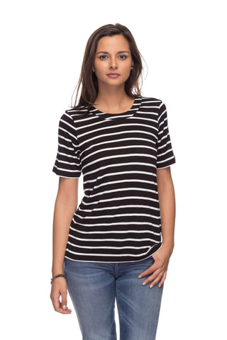 Cottonworld Women's Tshirts Women Black Regular Viscose T-Shirts