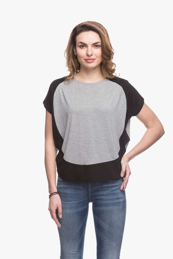 Cottonworld Women's Tshirts Women Grey Color Block T-Shirt