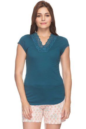 Cottonworld Women's Tshirts Women Navy Regular Solid Cotton T-Shirts