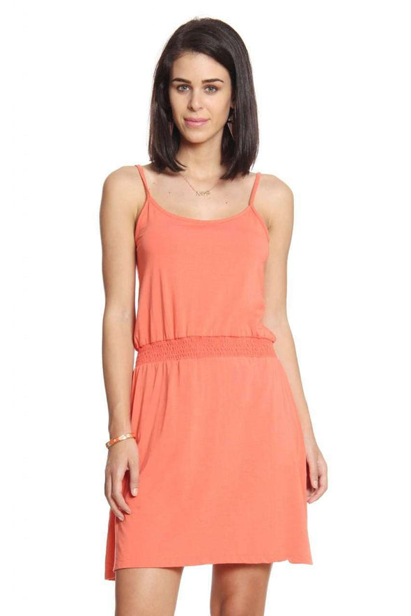 Cottonworld Women's Tshirts Women Orange Strappy Dress