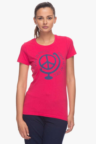 Cottonworld Women's Tshirts Women Pink Regular Viscose T-Shirts