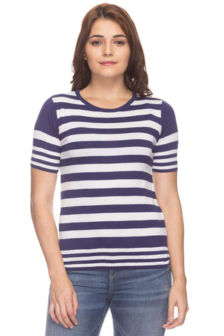 Cottonworld Women's Tshirts Women Purple Regular Stripes Cotton T-Shirts