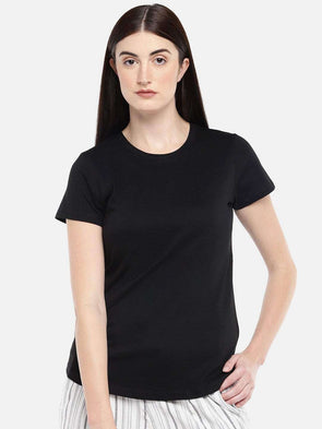 Cottonworld Women's Tshirts WOMEN'S 100% COTTON BLACK REGULAR FIT TSHIRT