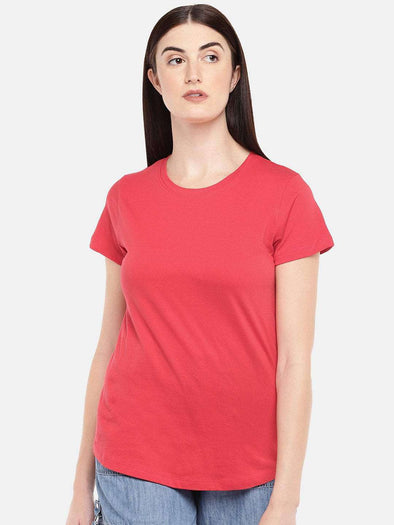 Women's Cotton Coral Regular Fit Tshirt Cottonworld Women's Tshirts