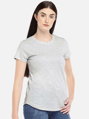 Cottonworld Women's Tshirts WOMEN'S 100% COTTON ECRU REGULAR FIT TSHIRT