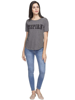 Cottonworld Women's Tshirts WOMEN'S 100% COTTON GREY MELAN REGULAR FIT TSHIRT