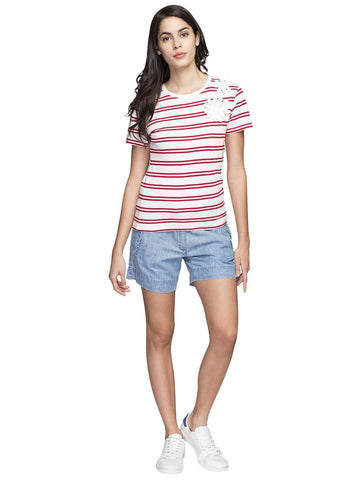Cottonworld Women's Tshirts WOMEN'S 100% COTTON MAROON REGULAR FIT TSHIRT