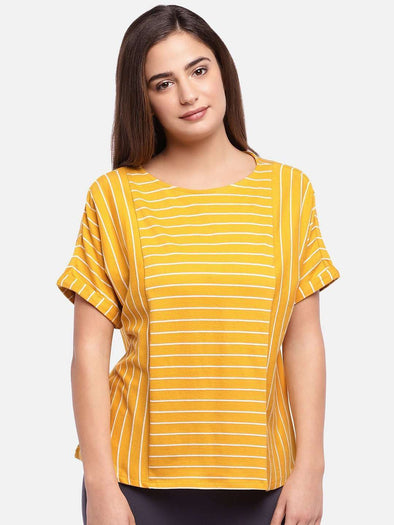 Cottonworld Women's Tshirts WOMEN'S 100% COTTON MUSTARD REGULAR FIT TSHIRT