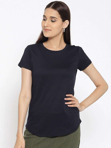 Cottonworld Women's Tshirts WOMEN'S 100% COTTON NAVY REGULAR FIT TSHIRT