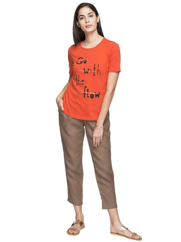 Cottonworld Women's Tshirts WOMEN'S 100% COTTON RUST REGULAR FIT TSHIRT