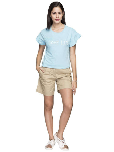 Cottonworld Women's Tshirts WOMEN'S 100% COTTON SKY BLUE REGULAR FIT TSHIRT