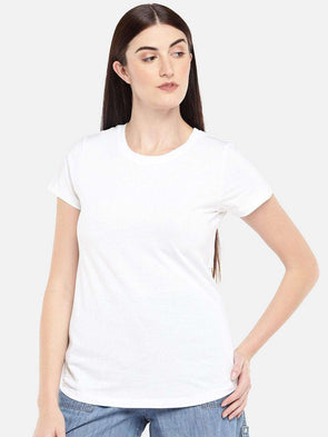 Cottonworld Women's Tshirts WOMEN'S 100% COTTON WHITE REGULAR FIT TSHIRT