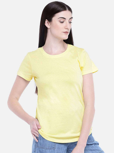 Cottonworld Women's Tshirts WOMEN'S 100% COTTON YELLOW REGULAR FIT TSHIRT