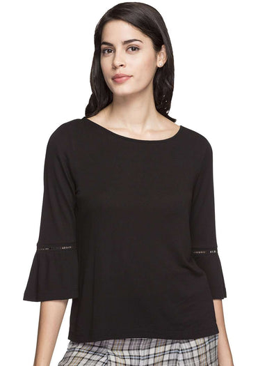 Cottonworld Women's Tshirts WOMEN'S 100% VISCOSE BLACK REGULAR FIT TSHIRT