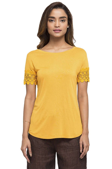 Cottonworld Women's Tshirts WOMEN'S 100% VISCOSE MUSTARD SLIM FIT TSHIRT