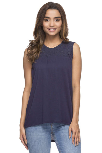 Cottonworld Women's Tshirts WOMEN'S 100% VISCOSE NAVY REGULAR FIT TSHIRT