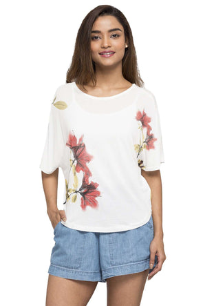 Cottonworld Women's Tshirts WOMEN'S 100% VISCOSE OFFWHITE REGULAR FIT TSHIRT