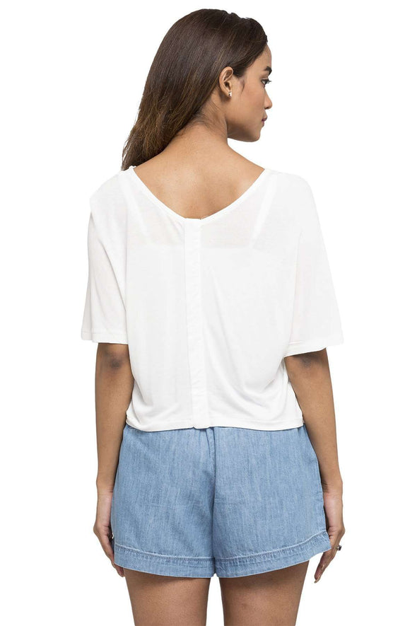 Women's Viscose Offwhite Regular Fit Tshirt Cottonworld Women's Tshirts